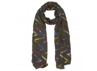 Khaki šátek s barevnými proužky - 70*180 cm
