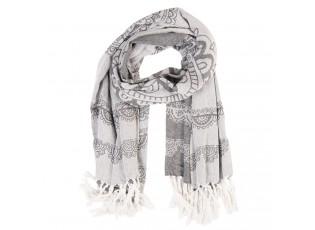 Šedý pléd nebo šátek s ornamenty a třásněmi - 90*170 cm