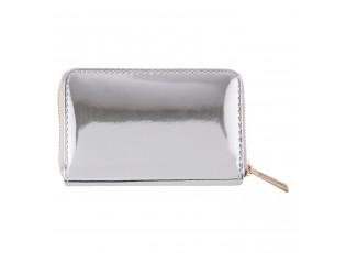 Stříbrná lesklá peněženka - 13*8 cm