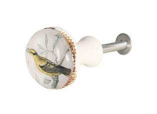 Bílá kovová úchytka s ptáčkem - Ø 3*6 cm