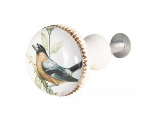 Bílá kovová úchytka s ptáčkem I - Ø 3*6 cm