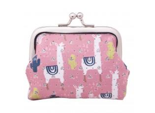 Malá růžová peněženka Lama - 10*7 cm