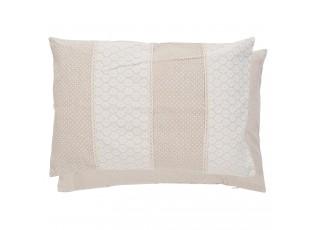 Béžový polštář s puntíky a krajkou - 35*50 cm