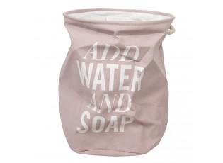 Růžová bavlněná taška na prádlo s nápisem a uchy -  Ø 40*50 cm