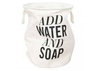 Bílá bavlněná taška na prádlo s nápisem - Ø 40*50 cm
