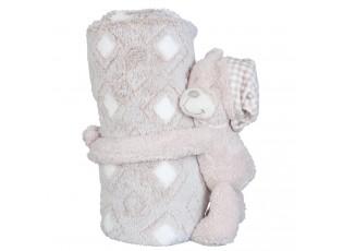 Béžový pléd pro miminko s plyšovým medvídkem - 75*100 cm / 13 cm