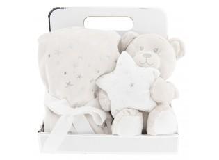 Dětský béžový pléd s plyšovým medvědem - 75*75 / 20 cm