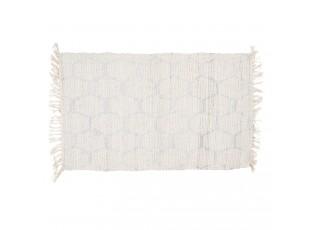 Krémový bavlněný koberec s motivem šestiúhelníků - 60*90 cm