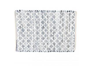 Šedo-modrý bavlněný kobereček s bílým prošitím - 60*90 cm