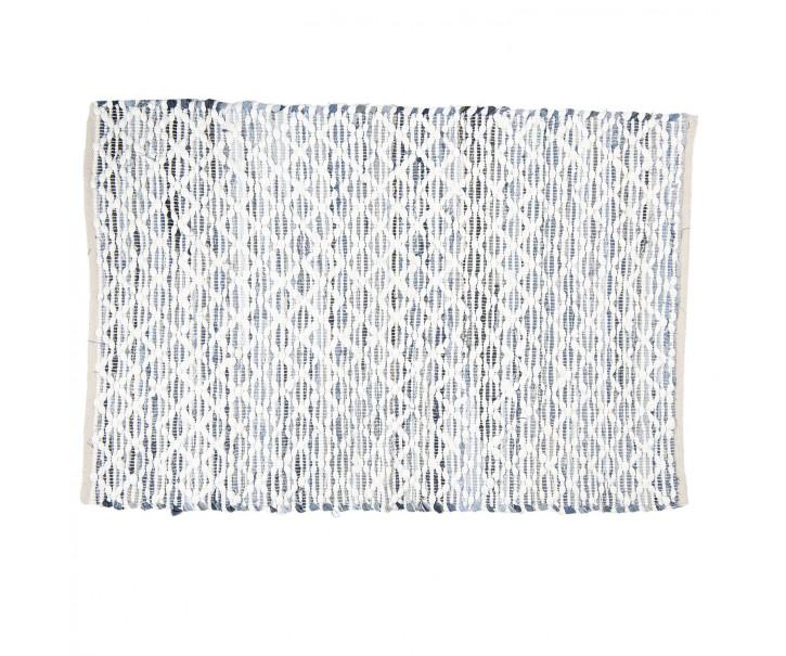 Šedo-modrý koberec s bílým prošitím - 90*140 cm