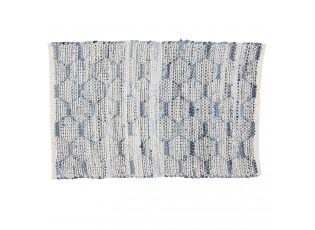 Modrobílý bavlněný koberec s ornamenty a střapci - 60*90 cm