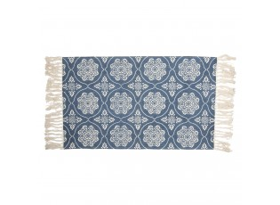 Tmavě modrý bavlněný koberec s krémovými ornamenty a střapci - 70*120 cm