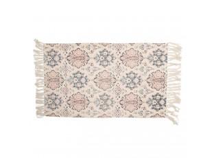 Krémový bavlněný koberec s květinovými motivy a třásněmi - 70*120 cm