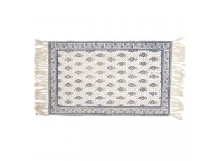 Krémový bavlněný koberec s tmavě modrými ornamenty - 70*120 cm