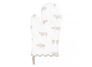 Bavlněná kuchyňská chňapka s béžovým potiskem Life with Cows - 16*30 cm