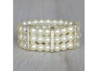 Široký náramek z umělých perliček s kamínky - Ø 5 cm