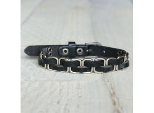 Černý náramek se stříbrným lemováním - Ø 6-8 cm
