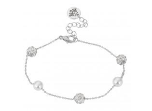 Stříbrný náramek s perlami - Ø 6-7cm