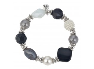 Černo bílo stříbrný korálkový náramek s čtvercovým kamínkem  - 7cm