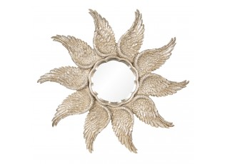 Zrcadlo se zlatými křídly - Ø 45*3 cm