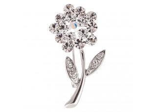 Brož květina stříbrná s kamínky