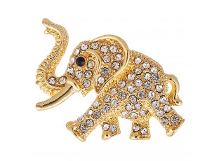 Brož zlatý slon se stříbrnými kamínky