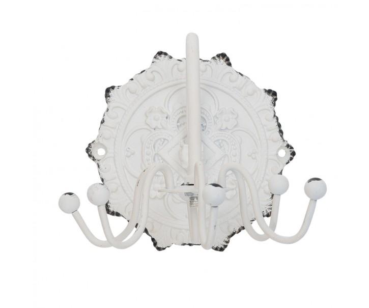 Bílý kovový točící věšáček s 6-ti háčky - 10*12*9 cm