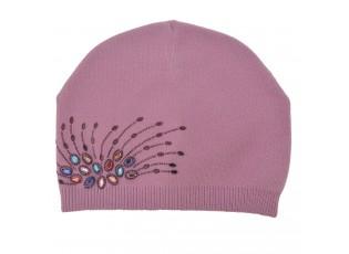 Dámská růžová čepice s kamínky
