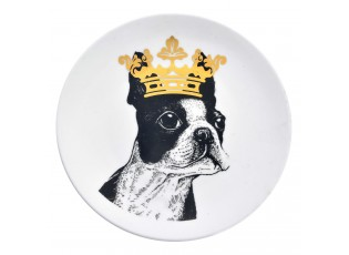 Keramický talíř Pes s korunou - Ø 20*2 cm