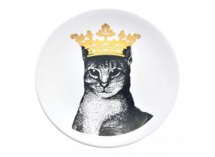 Keramický talíř Kočka s korunou - Ø 20*2 cm