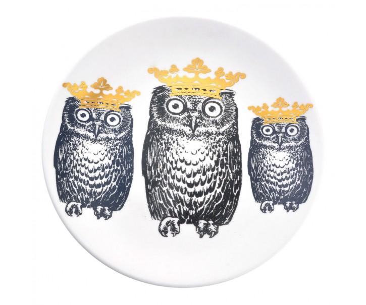 Keramický talíř Sovy s korunami - Ø 20*2 cm
