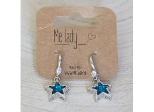 Stříbrné náušnice s modrými hvězdičkami - 4 cm