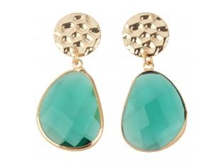 Zlaté bižu náušnice s modro zelenými kamínky