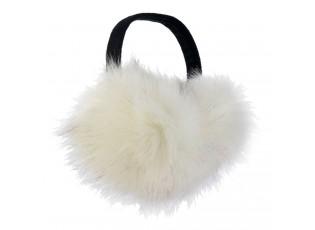 Krémové chlupaté klapky na uši - Ø 15 cm