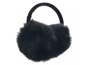 Černé chlupaté klapky na uši - Ø14 cm