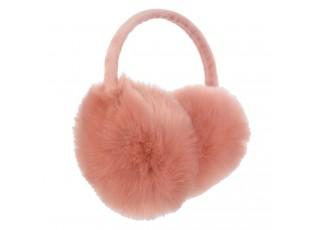 Růžové chlupaté klapky na uši - Ø10 cm