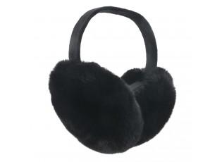 Černé chlupaté klapky na uši- Ø 17 cm