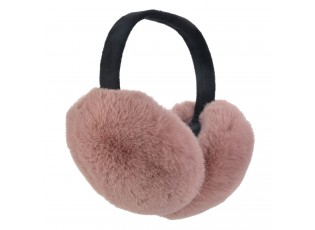 Růžové chlupaté klapky na uši - Ø 17 cm