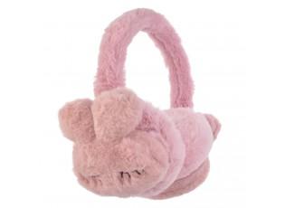 Růžové chlupaté klapky na uši králíček - Ø 13 cm