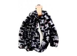Černý šátek s kočkami - 70*180 cm