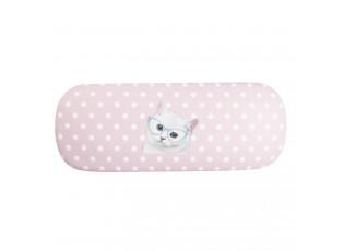 Růžové puntíkované pouzdo na brýle s kočičkou - 16*6 cm