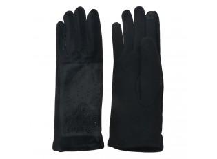Černé dámské rukavice s kamínky - 8*24 cm