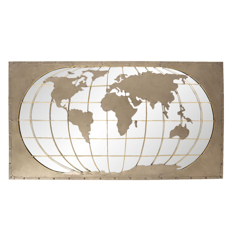 Clayre & Eef Nástěnná kovová mapa světa - 120*66*4 cm