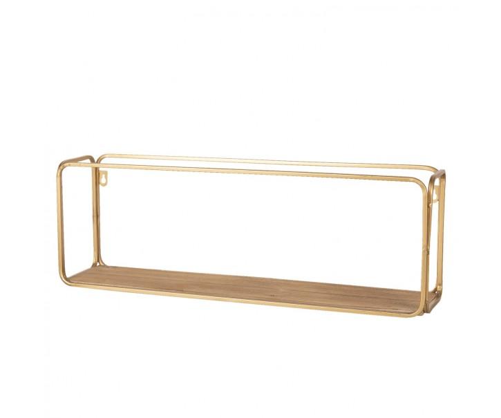Nástěnná kovová zlatá polička se dřevem Kold  - 61*21*14 cm