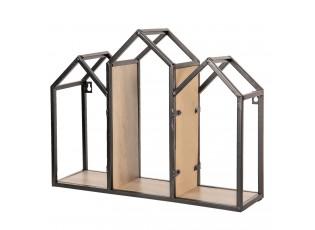 Nástěnná kovová polička House  - 46*14*36 cm