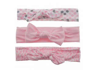 3ks růžových čelenek se vzorem a mašlí  - 20 cm