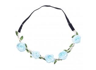 Čelenka na gumičce s modrými růžičkami - 49 cm