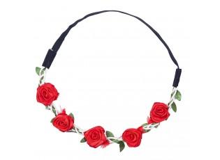 Čelenka na gumičce s červenými růžičkami - 49 cm