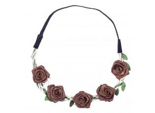 Čelenka do vlasů s hnědými růžičkami - 49 cm