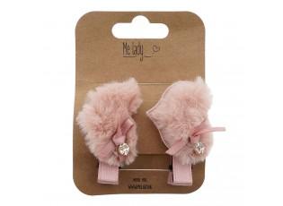 2ks růžové chlupaté sponky do vlasů srdce - 4 cm